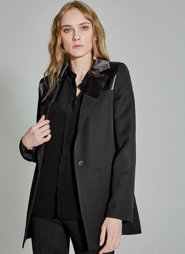 People By Fabrika Saten Detaylı Ceket Siyah
